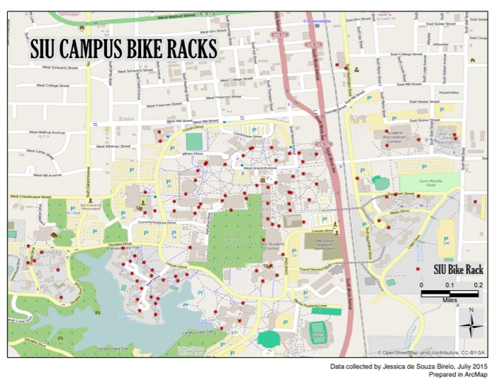 map of bike rack locations on campus